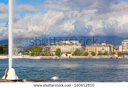 view of city of Geneva, the Leman Lake and the Water Jet, in Switzerland, Europe