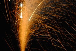view of colorful volcano firework on new year's eve