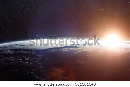 View of earth from space. Elements of this image furnished by NASA #381101143