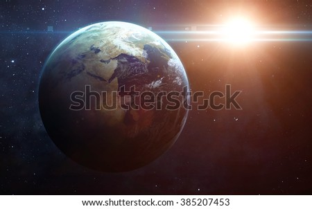 View of earth from space. Elements of this image furnished by NASA #385207453