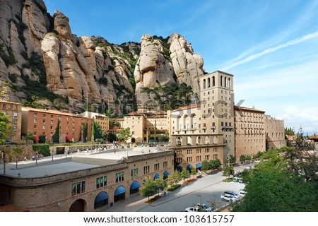 View of Montserrat Monastery. Beautiful Benedictine Abbey,  high in mountains.  Catalonia. Spain