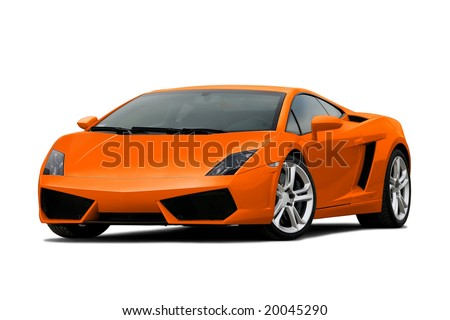 3/4 view of orange supercar isolated on white