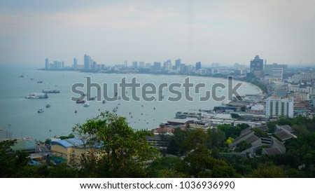 View of Pattaya City from the top. #1036936990