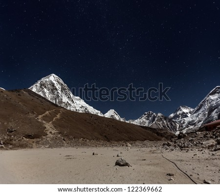 View of Pumo Ri in the Moonlight from Gorak Shep - Everest region, Nepal, Himalayas