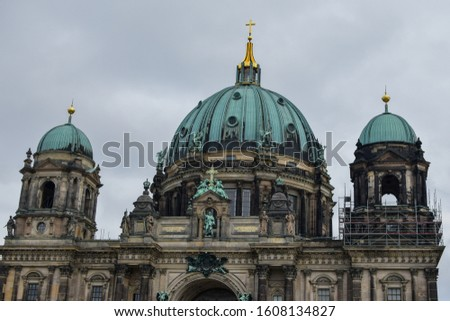 view of the Berlin Cathedral parts on reconstruction autumn