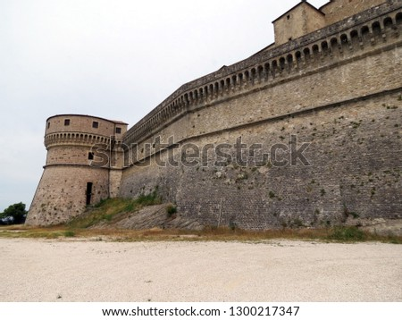 View of the strong fortifications of the fortress of San Leo, Emilia Romagna, Italy. This place has long served as a prison for political prisoners.