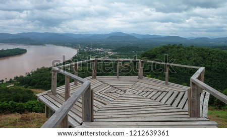 View of the wooden walkway on Phu Lamduan hill. Natural Attractions in Pak Chom District, Loei Province #1212639361