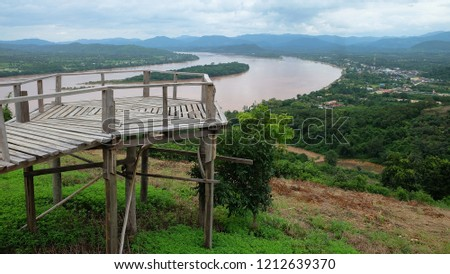 View of the wooden walkway on Phu Lamduan hill. Natural Attractions in Pak Chom District, Loei Province #1212639370