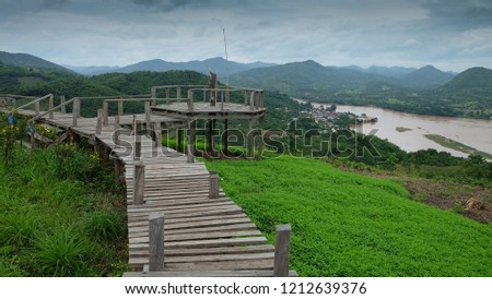 View of the wooden walkway on Phu Lamduan hill. Natural Attractions in Pak Chom District, Loei Province #1212639376