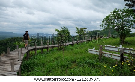 View of the wooden walkway on Phu Lamduan hill. Natural Attractions in Pak Chom District, Loei Province #1212639379