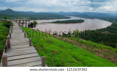 View of the wooden walkway on Phu Lamduan hill. Natural Attractions in Pak Chom District, Loei Province #1212639382