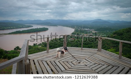 View of the wooden walkway on Phu Lamduan hill. Natural Attractions in Pak Chom District, Loei Province #1212639388