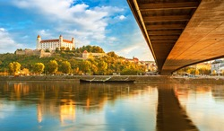 View on Bratislava castle and old town over the river Danube in Bratislava city, Slovakia