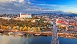View on Bratislava old town over the  Danube river in Bratislava city, Slovakia