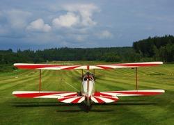 Vintage airplane biplane on an airfield
