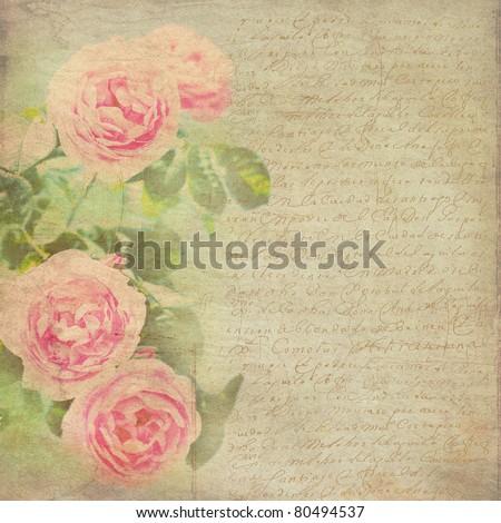 Vintage Background. Flowers Background. Vintage Paper.  Roses Pattern