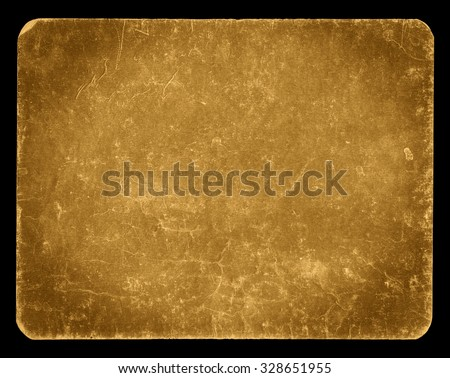 Vintage banner or background isolated on black with clipping path, rich grunge texture, antique paper mounted onto cardboard, suitable for Photoshop blending purposes, hi res.
