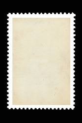 Vintage blank postage stamp on a black background