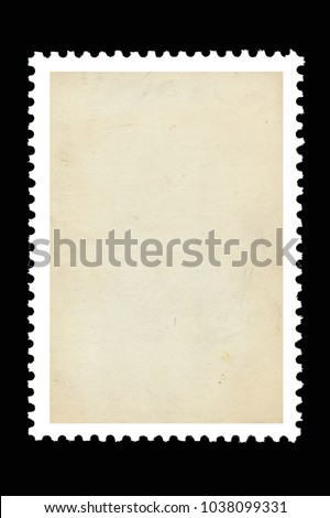 Vintage blank postage stamp on a black background #1038099331