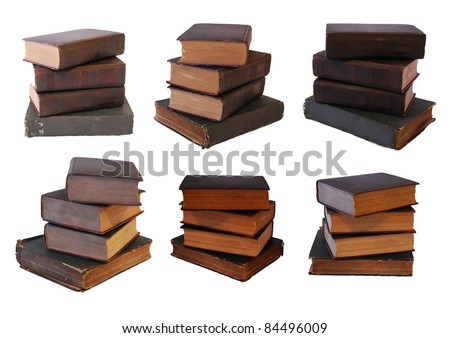 6 vintage book stack isolated on white