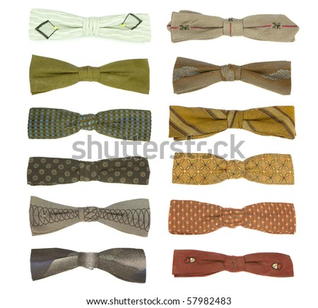 12 vintage bow-ties from the 50's isolated on white. Some of these have aged a little bit - expect moth holes.
