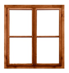 Vintage brown wooden window on white background