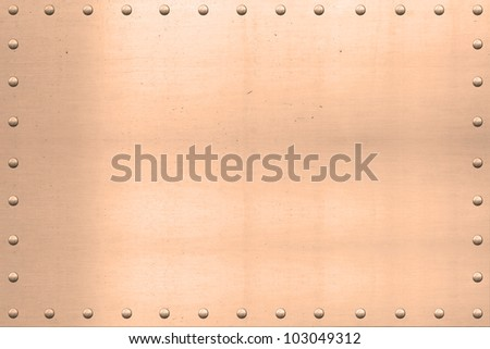 Vintage copper plated sheet, showing scars and scratches, with riveted edges./ Vintage Copper Sheet, Riveted Edges / Great background for text, painting, or whatever your notion.