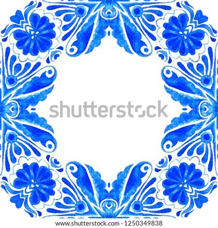 vintage elements for design emblem, labels, stamps, dividers blue watercolor flourish frame and corner element isolate