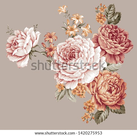 Vintage flowers  illustration.Manual composition.Set vintage elements.