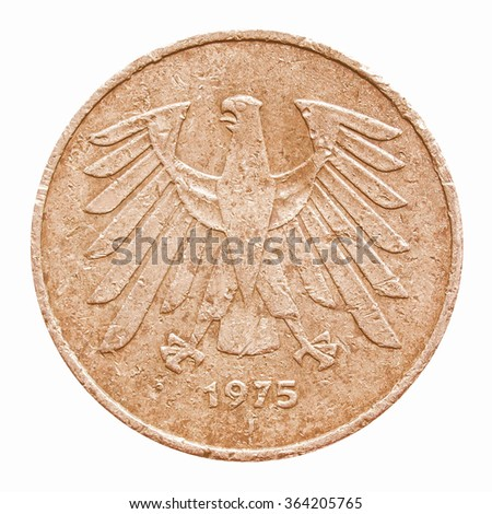 Vintage German 5 Mark coin isolated on white vintage #364205765