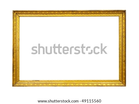 Vintage gold picture frame isolated with clipping path
