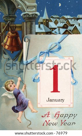 1913 vintage Happy New Year greeting card illustration - (cherub ringing in the new year).