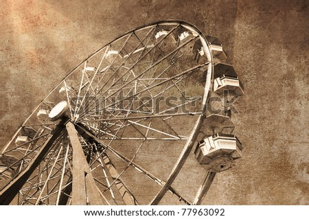 """Vintage look"" Ferris wheel, amusement park - stock photo"