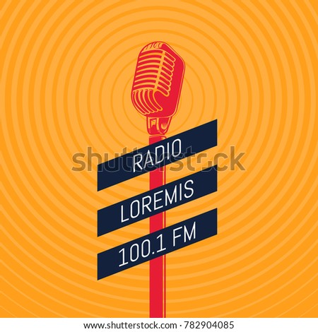 vintage microphone radio illustration on radio signal circles background. Music audio media background