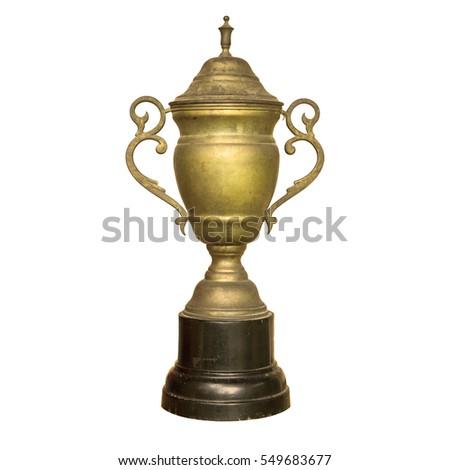 vintage old golden trophy cup...