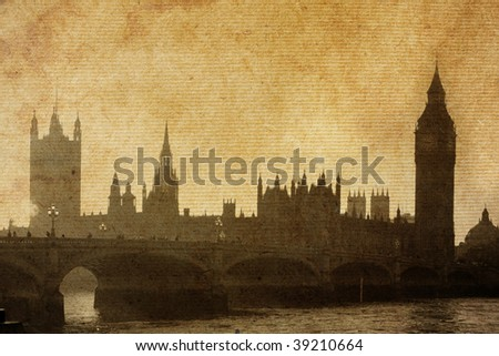 vintage paper textures.  Buildings of Parliament with Big Ben tower in London UK view from Themes river.