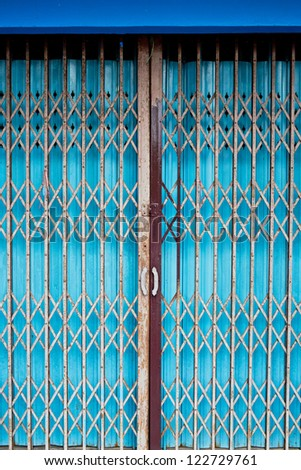 Vintage sliding metal door background