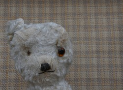 Vintage Teddy bear in lovable play worn condition with missing eye, missing ear and missing fur. Close up of face with chequered design suitcase lid to background and space to right for caption.