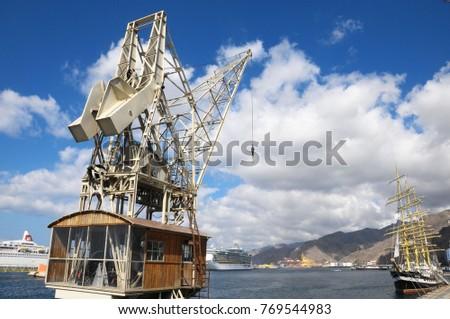vintage wooden port crane