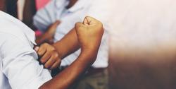Violent behavior in school boy is creating a brawl.Concept of school problems