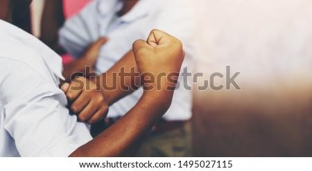 Violent behavior in school boy is creating a brawl.Concept of school problems Сток-фото ©