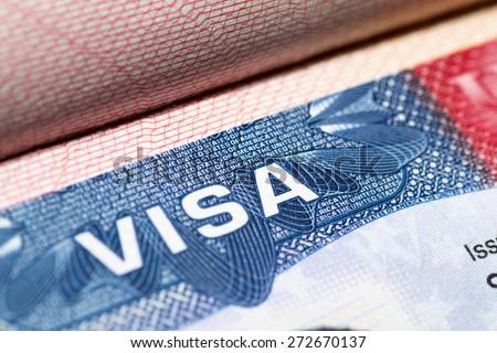 Visa stamp travel passport immigration macro emigration Сток-фото ©