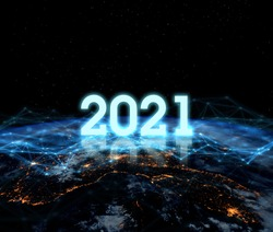 2021 Vision Technology. Global network for the exchange of data on the planet Earth. Blue black ground. Concept for new year 2021.Elements of this image furnished by NASA.