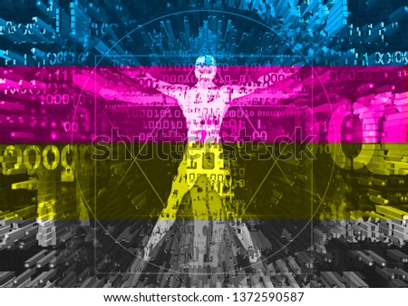 Vitruvian man in explosion of computer data and print colors stripes.  Futuristic expressive Illustration of vitruvian man with a binary codes symbolized digital age. Concept for digital print and g Stok fotoğraf ©