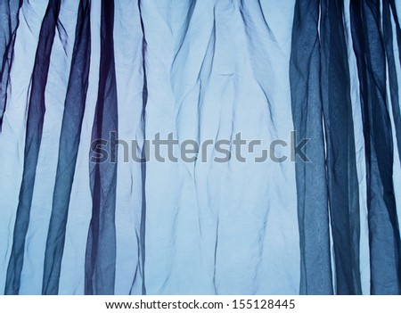 Voile curtain blue background