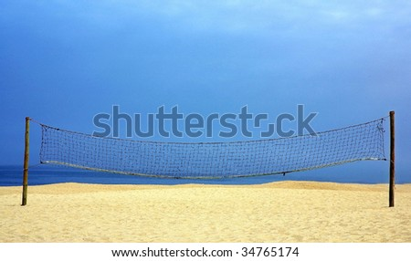 Volleyball net on the portuguese beach.