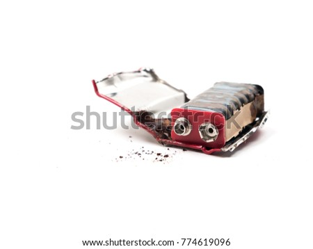 9 volt battery is damaged and rusty #774619096