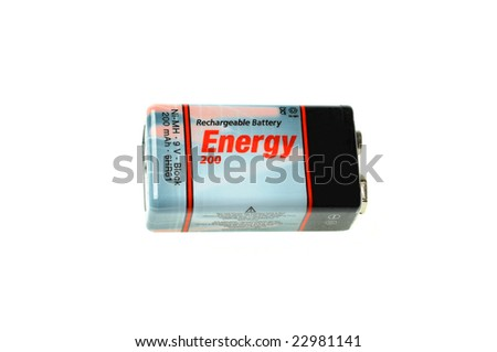9 volts battery on white