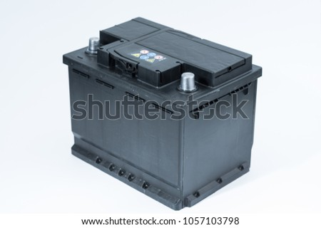 12 volts car battery isolated. 2018 photo. #1057103798