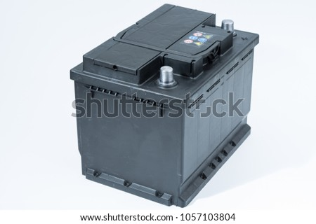 12 volts car battery isolated. 2018 photo. #1057103804